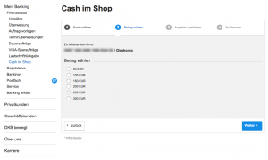 DKB Cash account: Cash im Shop