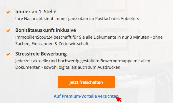 Immoscout registration, skip premium