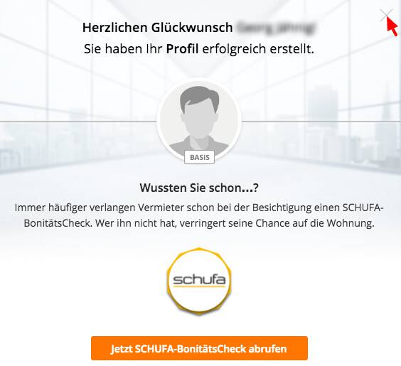 Immoscout register, no Schufa