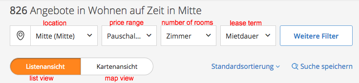 Translated Immoscout filter for results view