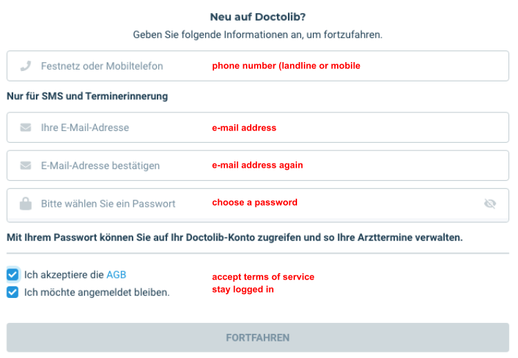 Doctolib: Register new account